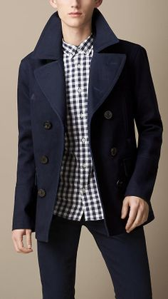 Burberry Bonded Cotton Twill Pea Coat on shopstyle.co.uk