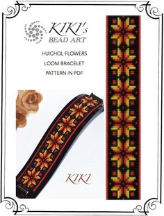 Huichol inspired flower patterned LOOM bracelet cuff PDF pattern instant download