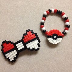 Pokemon PokeBall Set - One Perler Hair Bow and One Kandi Bracelet