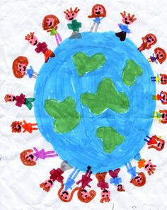 """Around the world"" workshop - Here Gabriella's view of earth, embraced by her classmates!"
