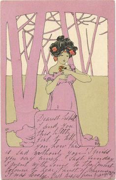 M. M. VIENNE - BEAUTIFUL WOMAN & Original ca.1900 Art Nouveau Postcard