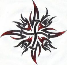 Bleeding Sun by ReaperXXIV on DeviantArt - A tribal sun design i just finished … Decided to colour it with some red shading for a different - Sun Tattoos, Celtic Tattoos, Body Art Tattoos, Owl Tattoo Drawings, Doodle Tattoo, Shiva Tattoo Design, Phoenix Tattoo Design, Tribal Wolf Tattoo, Tribal Sleeve Tattoos