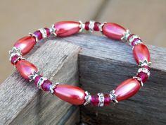 Hot pink bracelet pink bridesmaid jewelry pink by SheJustSaidYes, $17.00