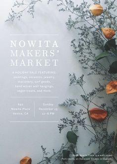 Poster Design Nowita Makers' Market flyer / Allison Kunath x Paper & Type Flugblatt Design, Book Design, Cover Design, Layout Design, Stand Design, Print Design, Poster Print, Poster Layout, Flyer Layout