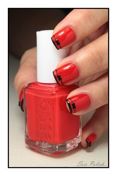 deep french nails Tips Red Black Nails, Red Nails, Love Nails, Pretty Nails, Polish Nails, Black Bows, Black Stripes, Nail Art Designs, Black Nail Designs