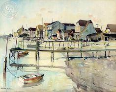Millard Sheets - Balboa Island, 1931 - California art - fine art print for sale, giclee watercolor print - Californiawatercolor.com