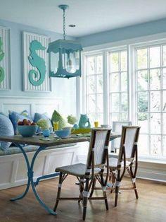 sala da pranzo in stile marino Bench seat in kitchen