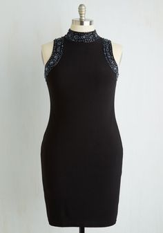 Fashionably Late Night Dress. When you arrive at the swanky after-hours party in this black sheath dress, being a bit behind schedule hardly matters! #black #modcloth