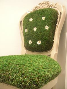 Grass chair. This is a chair I bought from a second hand shop. I painted it in a light beige colour and reupholstered it with quality fake grass.