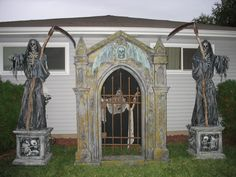 I want a storage shed to hold all my Halloween decorations but I want the outside to look like a mausoleum- this would be perfect just needs to be a little bigger:)