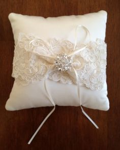 Lace Ivory Ring Bearer Pillow W/ Brooch | Recycled Bride