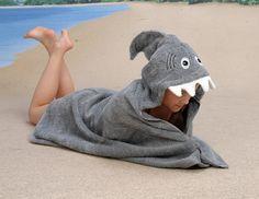 I want it!!! Hooded Towel - Sandy Shark