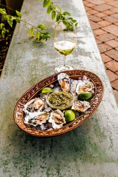 Grilled oysters paired with Ceja Chardonnay
