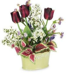 Purple Tulips in Green Vintage Container