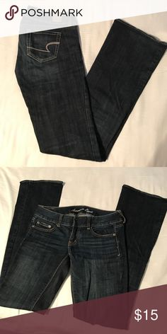 American Eagle Jeans (boot cut) Worn a few times, but in great condition. Dark wash jeans, size 2 long. American Eagle Outfitters Jeans Boot Cut