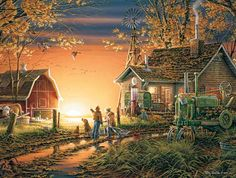 """A classic farm scene at sunrise, with a vintage tractor ready to start the day's chores. Artist: Terry Redlin : Item:913 : 1000 piece jigsaw puzzle: Finished size 24"""" x 30"""""""