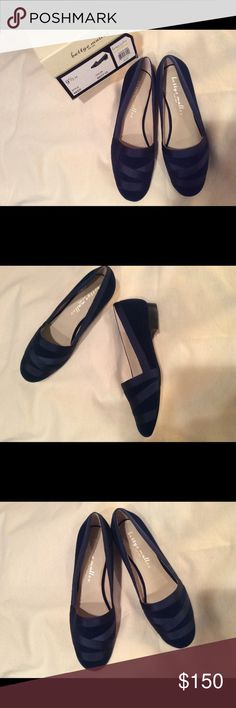 New in Box! GORGEOUS Bettye Muller Velvet Loafers Absolutely beautiful Navy blue velvet loafers with grosgrain ribbon detail. Brand new and never worn with original box and packaging, too large or I would definitely be keeping them for myself! Bettye Muller Shoes Flats & Loafers