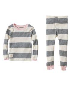 ee6f1b75bf Burt s Bees Baby Gray Rugby Stripe Organic Pajama Set - Toddler