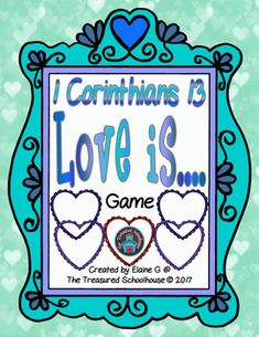 This game is perfect for Valentines Day, a lesson on love, a review for Gifts of the Holy Spirit, or a number of other lessons or reviewing lessons.  1 Corinthians 13 is all about love and there are several options for game play.Included in this complete game are....Game Board (2 pages)10 Heart Cards, 10 Blank Cards, and Optional Card BacksText for 1 Corinthians 12 from NABRECover, Player Tokens, Tab Label (if mounted to a file folder), and DirectionsDice (1 die)32 Question Cards, 8 Blank…