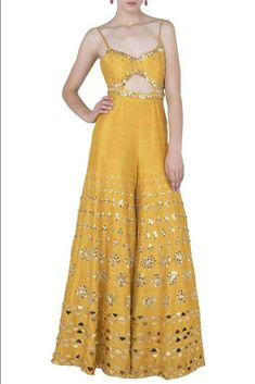 Papa Don't Preach presents Mustard yellow embroidered cutout jumpsuit available only at Pernia's Pop Up Shop. Indian Gowns Dresses, Indian Fashion Dresses, Indian Designer Outfits, Teen Dresses, Midi Dresses, Designer Dresses, Diwali Outfits, Mehendi Outfits, Indian Attire