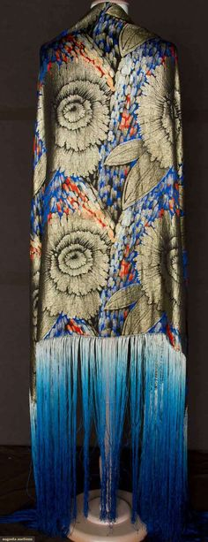 """Floral lame 1920s Red, apricot & dark blue print on black ground, metallic huge peony blossoms in gold lame brocade, 34.5"""" x 47"""", ombre fringe 24"""""""