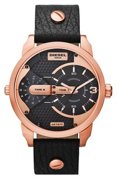 DIESEL® 'Mini Daddy' Multi Movement Leather Strap Watch, 46mm available at #Nordstrom