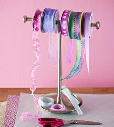 Use an inexpensive hand-towel rack to corral ribbon and prevent tangles. Fid more unexpected storage solutions: http://www.bhg.com/decorating/storage/projects/clever-unexpected-storage-solutions/?socsrc=bhgpin062112#page=5