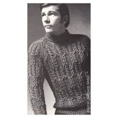 Mens Sweater Knitting Pattern Braided Cable by DigitalPatternShop