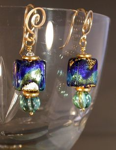 Earrings  Blue Murano Glass Czech Beads & by ELLEcalifornia, $40.00