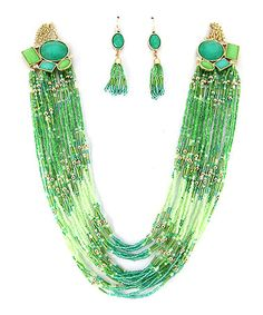 Another great find on #zulily! Gold & Green Drape Bead Multistrand Necklace & Drop Earrings #zulilyfinds