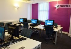 ICT suite refurbishment and fit out with purple coloured feature walls. EKC - Gaming and ICT Academy, rapinteriors.com