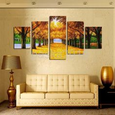 30Cm Canvas Modern Living Room Decor Wall Art Painting Gold Trees Print