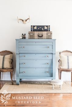 Miss Mustard Seed's Milk Paint color from our European color line that will be launched in January 2015. A smokey blue/gray called Bergere.
