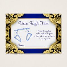 Shop Royal Blue Gold Baby Diaper Raffle Ticket Enclosure Card created by BabyCentral. Custom Baby Shower Invitations, Baby Shower Invitation Cards, Gold Invitations, Baby Shower Diapers, Baby Boy Shower, Royal Blue And Gold, Blue Gold, Purple, Royal Baby Showers