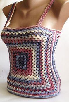 Granny square crochet top/ Festival hippie crochet by ElenaVorobey