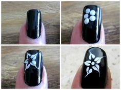 3 simple black and white nail art. Black And White Nail Art, White Nails, Nail Growth Tips, Seashell Nails, Rose Nail Art, Nails At Home, Flower Nails, Tips Belleza, Perfect Nails
