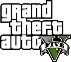 The Grand Theft Auto five logo, with the Roman numeral V drawn in a style similar to a banknote.