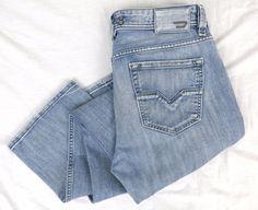 DIESEL Larkee Jeans 33 x 32 Regular Straight Leg Distressed Frayed Denim Italy #DIESEL #ClassicStraightLeg