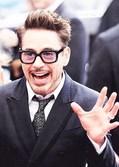 Robert Downey Jr. recognizes someone in the crowd.