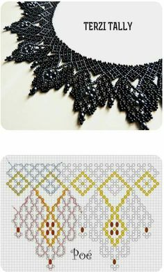 Zwart collier Beaded Jewelry Patterns, Beading Patterns Free, Bead Loom Patterns, Lace Necklace, Seed Bead Necklace, Seed Bead Jewelry, Jewelry Making Beads, Crochet Necklace, Necklace Tutorial