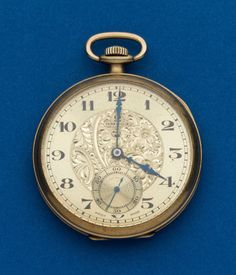 Omega, Fancy Dial 12 Size Pocket Watch Case: gold filled, 12 size, single hinged back Dial: gold metal, Arabic - Available at Tuesday Internet Watch and. Old Pocket Watches, Old Watches, Pocket Watch Antique, Antique Watches, Vintage Watches, Wrist Watches, Mens Watches For Sale, Web Design, Elegant Watches