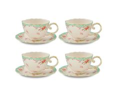 Amazon.com: Gracie China Vintage Green Rose Porcelain 7-Ounce Tea Cup and Saucer with Gold Trim, Set of 4: Teacup Saucers: Kitchen & Dining
