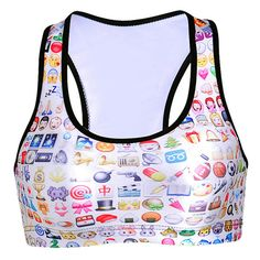 Womens Emoji Printed Wireless Sports Bra White (15 CAD) ❤ liked on Polyvore featuring white