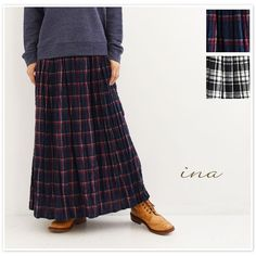 【inaイナ】チェック マキシ スカート (164124)