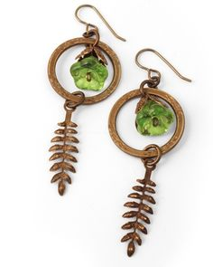 """Spring Drops Earrings by Betsy Kaage. Inspired by our May 2013 """"Weeping Willow"""" Theme featuring Vintaj natural brass + Czech glass."""