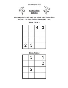 A great set of sudoku puzzles. The aim is to fill the grid so that each row, column and box contains the same numbers, usually one to nine. Sudoku Puzzles, Printable Puzzles, Logic Puzzles, Basic Math Worksheets, Alphabet Worksheets, Subtraction Kindergarten, Kindergarten Math Worksheets, Math For Kids, Puzzles For Kids
