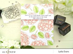 Altenew Dahlia Blossoms + Beautiful Quotes card by Lydia Evans