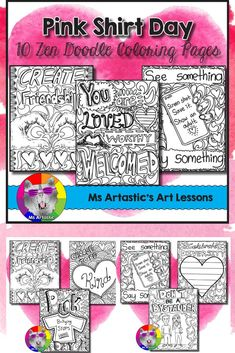 Promote kindness and anti-bullying awareness in your classroom with this Pink Shirt Day resources! Perfect for any Kindness, Diversity, or Respect themed days/week/month at your school or in your classroom. Mindful, zen, coloring sheets for all ages that Doodle Coloring, Coloring Sheets, Coloring Pages, Anti Bullying, Cyber Bullying, Elementary Art, Elementary Teacher, Upper Elementary, Art Classroom