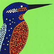 Eisvogel mit Dot-Painting