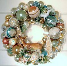 Make a Holiday Wreath Using Vintage Christmas Ornaments